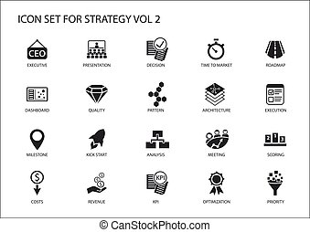 Strategy icon set. Various symbols for strategic topics like...