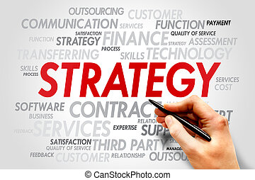 Strategy management words tag cloud, business concept