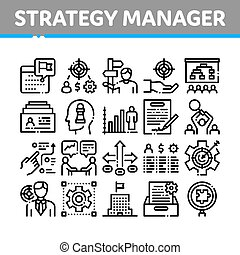 Strategy Manager Job Collection Icons Set Vector