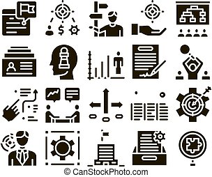 Strategy Manager Job Glyph Set Vector