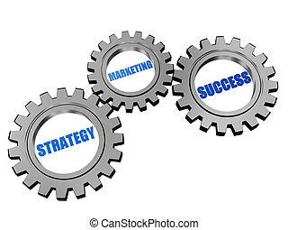 strategy, marketing and success in silver grey gears