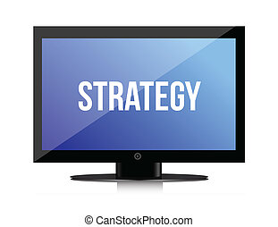 strategy message on monitor illustration design over white