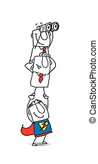 Strategy of the teamwork - A superhero carries on his...