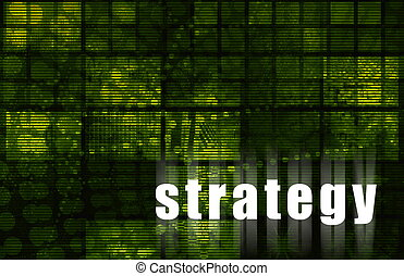 Strategy on a Green Abstract Tech Background