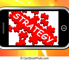 Strategy On Smartphone Showing Strategic Vision