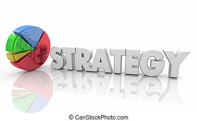 Strategy Pie Chart Business Plan Word 3d Illustration