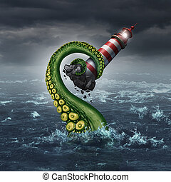 Strategy problem and guidance hazard as a light house beacon being ripped out of the ocean by a dangerouse sea monster tentacle arm as a metaphor for risk and trouble planning.