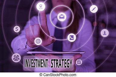strategy., projection, photo, allouer, investable, texte, conceptuel, assets., plan, signe, systématique, investissement
