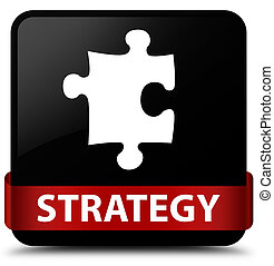 Strategy (puzzle icon) black square button red ribbon in middle