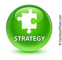 Strategy (puzzle icon) glassy green round button