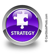 Strategy (puzzle icon) glossy purple round button