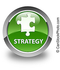 Strategy (puzzle icon) glossy soft green round button