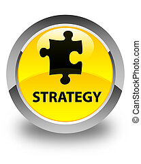 Strategy (puzzle icon) glossy yellow round button