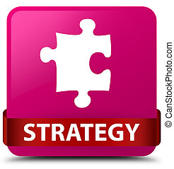 Strategy (puzzle icon) pink square button red ribbon in middle