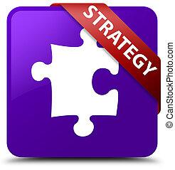 Strategy (puzzle icon) purple square button red ribbon in corner