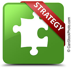 Strategy (puzzle icon) soft green square button red ribbon in corner