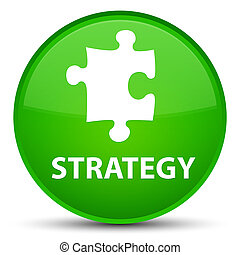 Strategy (puzzle icon) special green round button