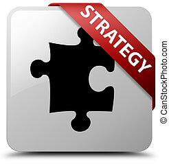 Strategy (puzzle icon) white square button red ribbon in corner
