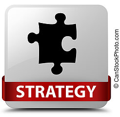 Strategy (puzzle icon) white square button red ribbon in middle