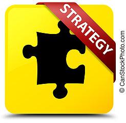 Strategy (puzzle icon) yellow square button red ribbon in corner