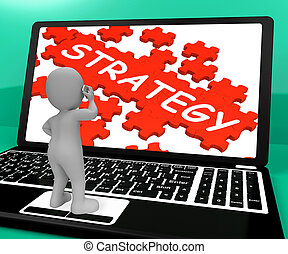 Strategy Puzzle On Notebook Showing Solutions 3d Rendering