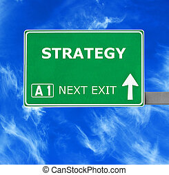 STRATEGY road sign against clear blue sky