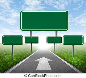 Strategy road signs on a highway with green grass and...