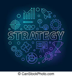 Strategy round blue outline vector illustration