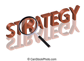 strategy search - Magnifying glass enlarging part of red 3D...