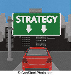 Strategy sign concept with stitch style on fabric background