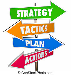 Strategy Tactics Plan Action Arrow Signs Achieve Goal 3D