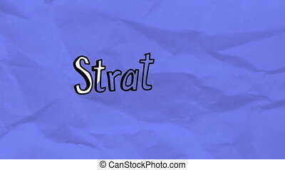 Animation of Strategy text written in white with black outline on purple crumpled paper moving in seamless loop in hypnotic motion. Management colour and movement concept digitally generated image.