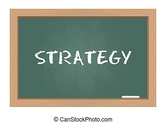 Strategy text on chalkboard
