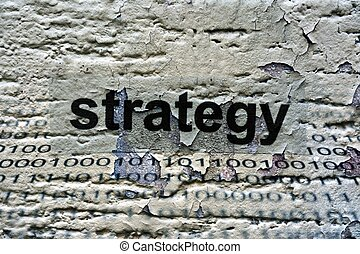 Strategy text on grunge background