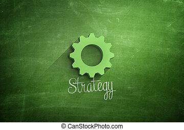 Strategy text with green cogwheel on blackboard