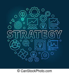 Strategy vector round blue outline illustration
