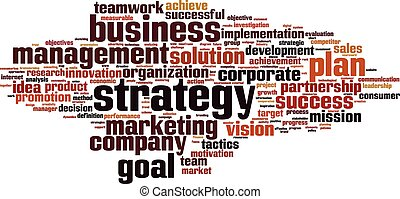 Strategy word cloud concept. Vector illustration