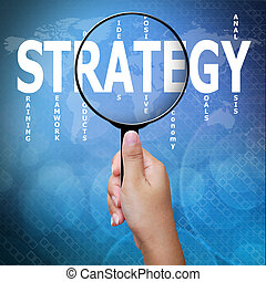 Strategy, word in Magnifying glass ,Business concept