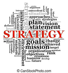 Strategy wordcloud - Illustration of wordcloud related to...