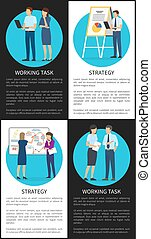 Strategy Working Task Set of Color Office Banners
