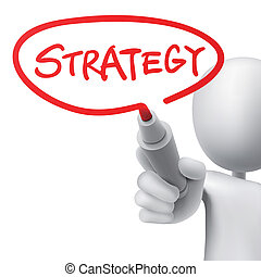 strategy written by a man over white background
