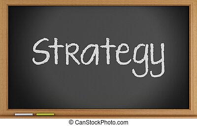 Strategy written on chalkboard. Business concept.