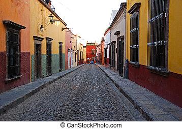 straten, san, mexico, de, cobblestone, miguel, allende