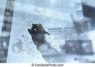 strato, concetto, affari, lavorativo, moderno, effetto, mano, digitale, uomo affari, strategia, tecnologia