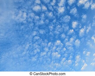 Stratocumulus cloud background 4 - blue background with...