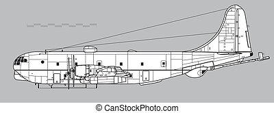 stratofreighter., 図画, boeing, kc-97, ベクトル, アウトライン