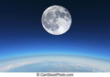 stratosphere., 在上方, 充分, earth's, 月亮