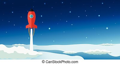 Stratosphere flat modern design. Rocket Space vector illustration.