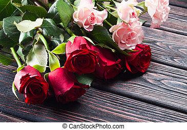 strauß rosen, auf, a, holz