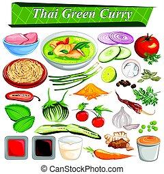 strava, a, koření, složka, jako, thai, mladický hřebelcovat